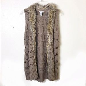 Bar lll Faux Fur Crochet Long Vest